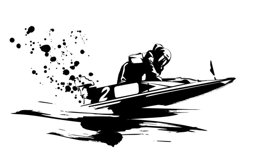 競艇イラスト(白黒)